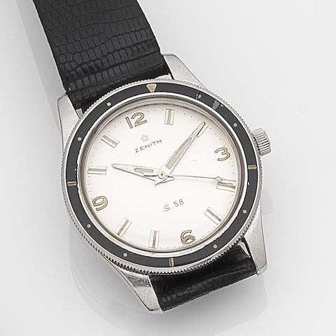 Zenith. A stainless steel manual wind centre seconds wristwatch Ref:S.58, Case No.9566264, Movement No.5074884, Circa 1960