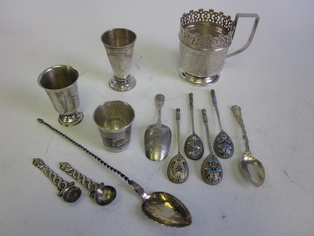 A small quantity of Russian  silver items  (13)