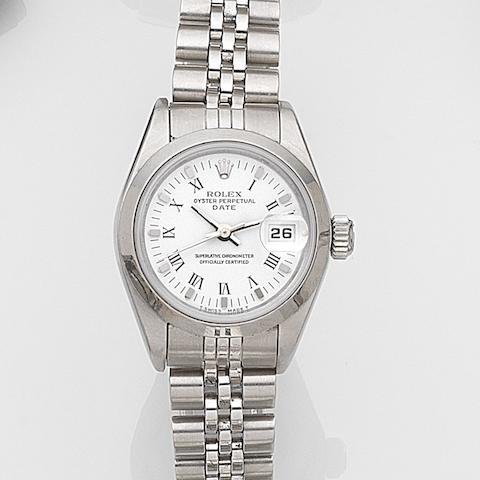 Rolex. A lady's stainless steel automatic calendar bracelet watch Date, Ref:69160, Case No.T43****, Movement No.343****, Circa 1996