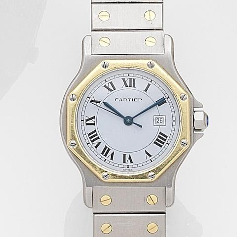 Cartier. A stainless steel and gold automatic calendar bracelet watch Santos Ronde, Case No.296655124, Circa 1990