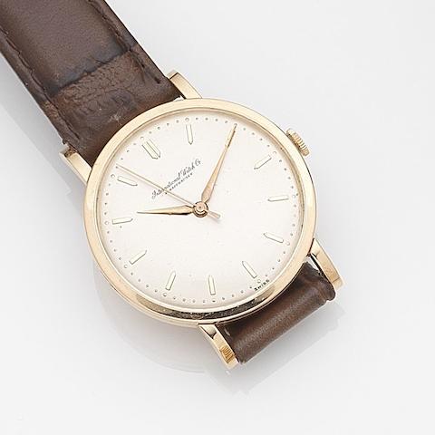 IWC. An 18ct rose gold manual wind wristwatchCase No.1443318, Movement No.1427108, Circa 1950