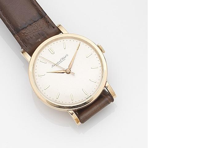 IWC. An 18ct rose gold manual wind wristwatchCase No.1443318, Movement No.1427108, Circa 1950