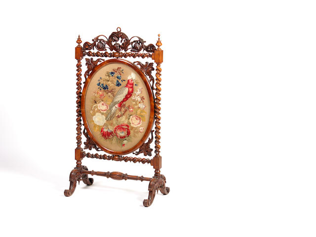 A mid-Victorian walnut firescreen