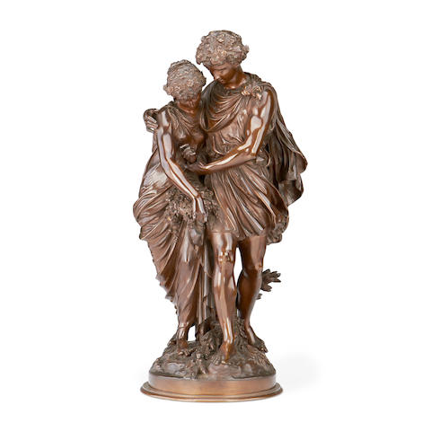 Mathurin Moreau, French (1822-1912)  A large bronze group of a courting couple