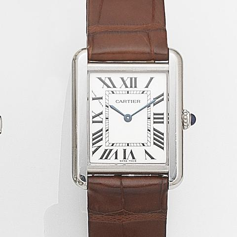 Cartier. A stainless steel quartz wristwatch with box and papersTank, Ref:265944PL, Case No.2716, Sold 14th August 2005