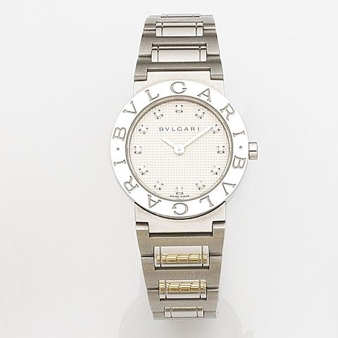 Bulgari. A lady's stainless steel and diamond set quartz bracelet watch together with box and papers Diagono, Ref:BB 26 SS, Case No.D396968, Sold 7th March 2007