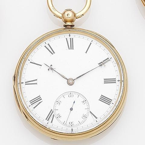 William Gibson, Belfast. An 18 gold key wind open face pocket watch Case and movement No.36071, London Hallmark for