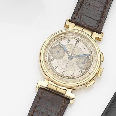 Longines. An 18ct gold manual wind flyback chronograph wristwatchCase and Movement No.5479816, Circa 1935