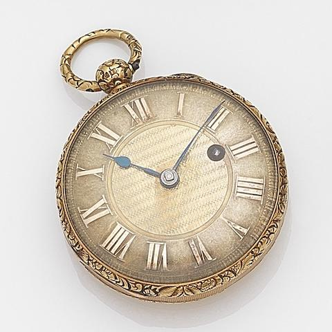 Dunsford. An 18ct gold key wind open face pocket watch Movement No.6079, London Hallmark for 1823