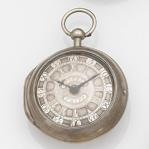 Johnathon Lovejoy. A silver key wind pair case pocket watch Movement No.600, London Hallmark for 1756