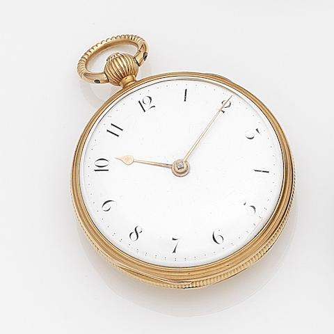 Thomas Mofs, London. An 18ct gold key wind open face pocket watch Movement No.5577, London Hallmark for 1893