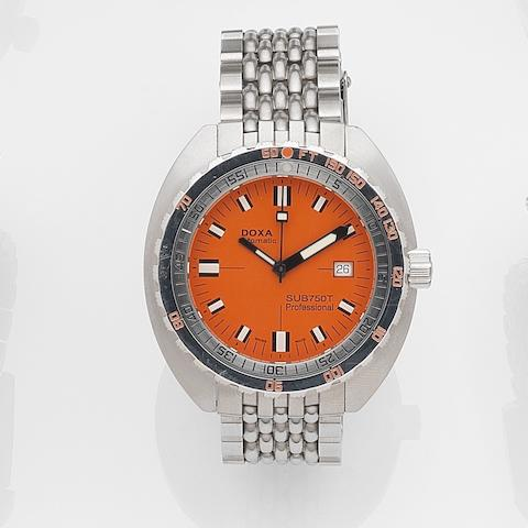 Doxa. An oversized stainless steel automatic calendar diving watch with box and papers SUB750T Professional Clive Cussler Edition, Case No.4891/5000, Sold 29th March 2006