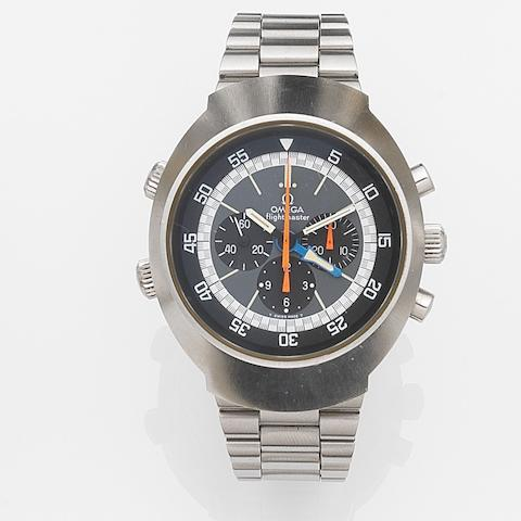 Omega. A stainless steel manual wind chronograph bracelet watch with second time zone Flightmaster, Ref:145.036, Movement No.35583227, Circa 1972