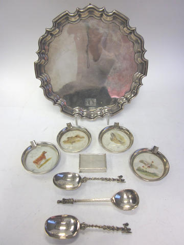 A silver salver by Walker & Hall, Sheffield 1920 and other items (9)