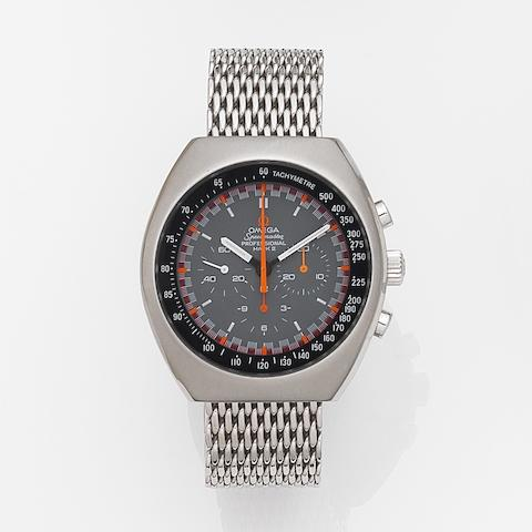 Omega. A stainless steel manual wind chronograph bracelet watch Speedmaster Professional Mark II, Ref:145.014, Movement No.28420807, Circa 1969
