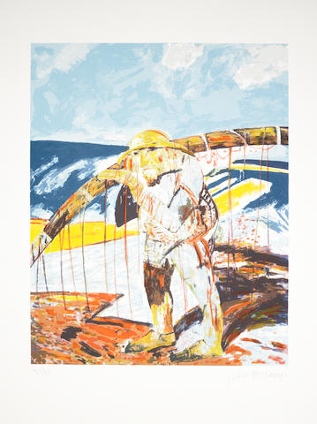 John Bellany CBE RA HRSA LLD(Lon) (British, born 1942) A Collection 'Old Man and the Sea', screenprint in colours, 1987, on wove, signed and numbered 39/80 in pencil, with full margins, 755 x 560mm (29 3/4 x 22in)(SH); together with ten etchings, including 'Jeune Fille, Le Treport', 'Fishwoman', 'My Father on his Deathbed', 'Sad Self-portrait', 'My Son Jonathan', 'My Son Tristan', 'Self-portrait in Hospital I& II', 'Sir Roy Calne', 'The Transplant I', 1972-89, each on wove, each signed in pencil, six numbered variously and four artist's proofs. unframed 11