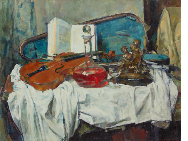 George Weissbort (British, born 1928) Still life with violin