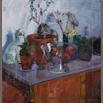 William Bowyer RA (British, born 1926) Still life with plants and fruit