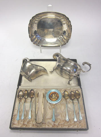 A silver bowl by Manoah Rhodes & Sons Ltd, Sheffield 1928 and other silver items