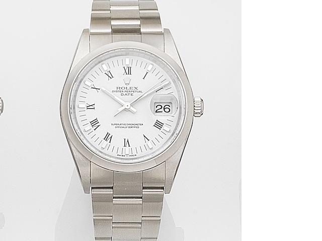 Rolex. A stainless steel calendar bracelet watch Date, Ref:15200, Case No.F19****, Movement No.303*****, Sold 24th October 2007