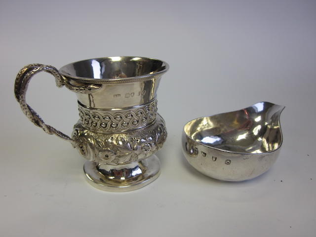 A George III silver papboat by Francis Crump, London 1762; together with a George IV silver christening mug, probably by John Baddeley (2)