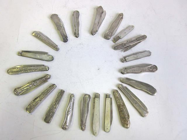 A quantity of 19th/20th century British and Continental  silver and electroplated  penknives various dates and makers  (21)