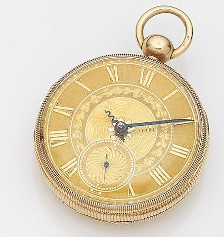 H. Daniel, Liverpool. An 18ct gold keyless wind open face pocket watchChester Hallmark for 1815