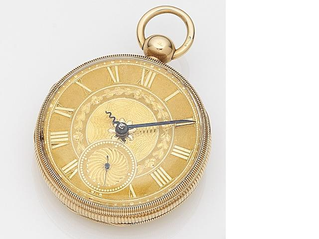 H. Daniel, Liverpool. An 18ct gold keyless wind open face pocket watch Chester Hallmark for 1815