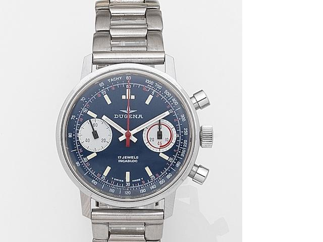Dugena. A stainless steel manual wind chronograph bracelet watch Ref:3752MS, Case No.520026, Circa 1975