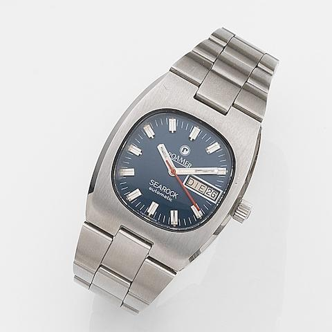 Roamer. A stainless steel automatic calendar bracelet watchSearock Automatic, Ref:523.2120.617, Case No.36003, Sold 25th February 1986