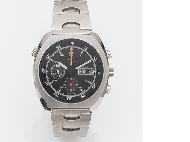 Gabriel. A stainless steel automatic calendar chronograph bracelet watch Case No.11004, Movement No.04001584, Circa 1975