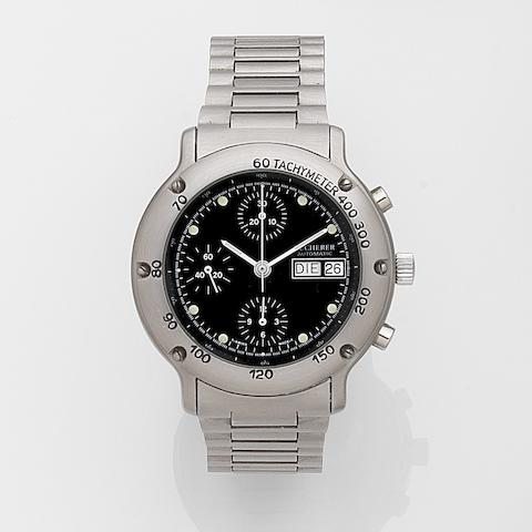 Bucherer. A stainless steel automatic chronograph calendar bracelet watch Ref:14.036, Case No.1656020, Sold 20th October 1988