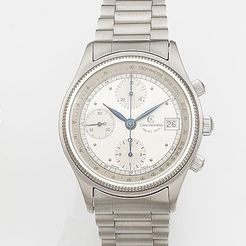 Chronoswiss. A stainless steel automatic calendar chronograph bracelet watch Pacific 100m, Sold 31st October 1988