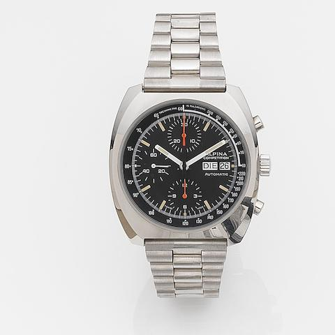 Alpina. A stainless steel automatic calendar chronograph bracelet watchCompetition, Ref:AL98-235, Case No.14026, Sold 11th October 1990
