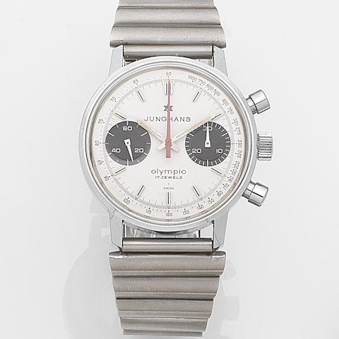 Junghans. A stainless steel manual wind chronograph bracelet watch Olympic, Ref:3752MS, Sold 7th January 1984
