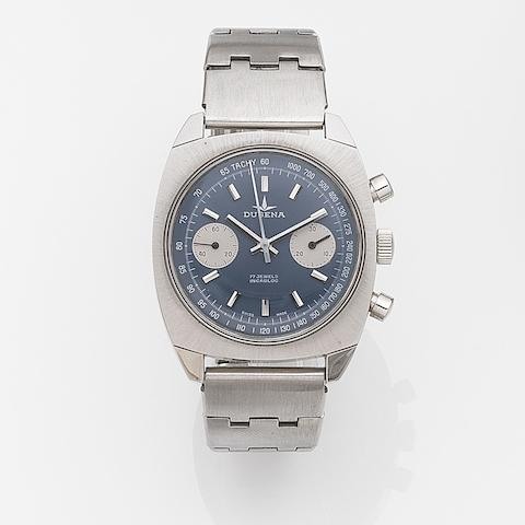 Dugena. A stainless steel manual wind chronograph bracelet watch Circa 1975