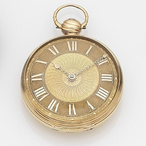 Mitchell, London. An 18ct gold key wind open face pocket watch London Hallmark for 1818