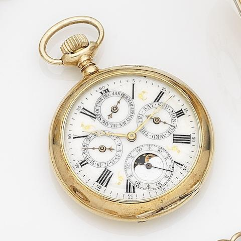 Unsigned. A gilt metal key wind triple calendar open face pocket watchCirca 1900