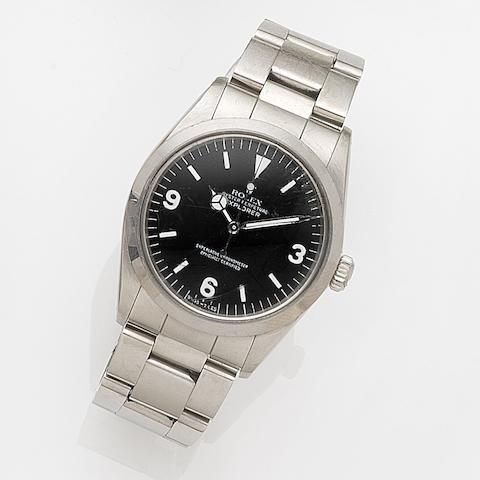 Rolex. A stainless steel automatic centre seconds bracelet watch with box and papersExplorer, Ref:1016, Case No.R84****, Movement No.D67****, Sold 31st December 1988
