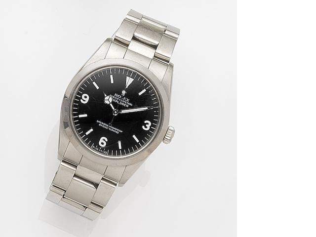 Rolex. A stainless steel automatic centre seconds bracelet watch with box and papers Explorer, Ref:1016, Case No.R84****, Movement No.D67****, Sold 31st December 1988