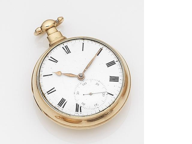 Unsigned. An 18ct gold key wind pair case pocket watch Movement No.62403, Chester Hallmark for 1813