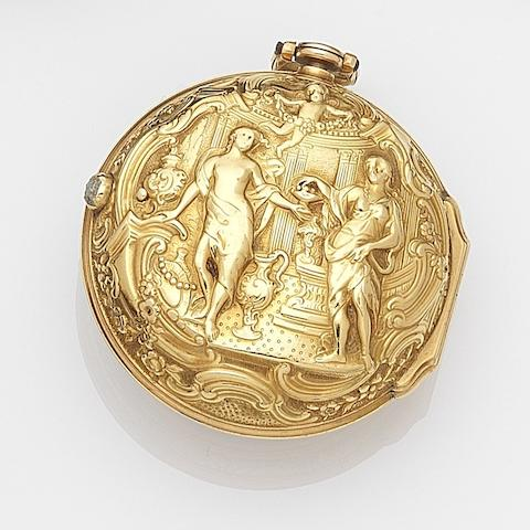 John Devis, London. An 18ct gold key wind repoussѐ pair case pocket watch Movement No.1616, London Hallmark for 1769