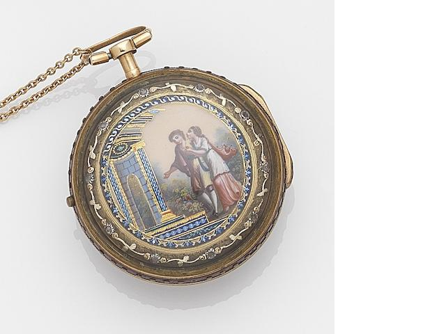 Jean Robert Soret. A gilt metal key wind triple case pocket watch Case and Movement No.28072, Circa 1750