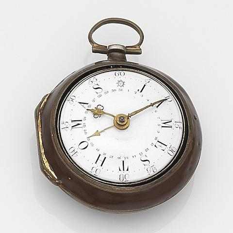 J. Peter Kiser, London. An 18ct gold and painted horn key wind calendar pair case pocket watch Movement No.869, London Hallmark for 1778