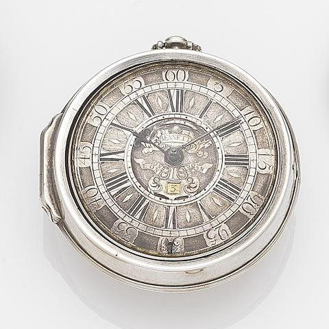 John Bennett, London. A silver key wind pair case pocket watchCirca 1720