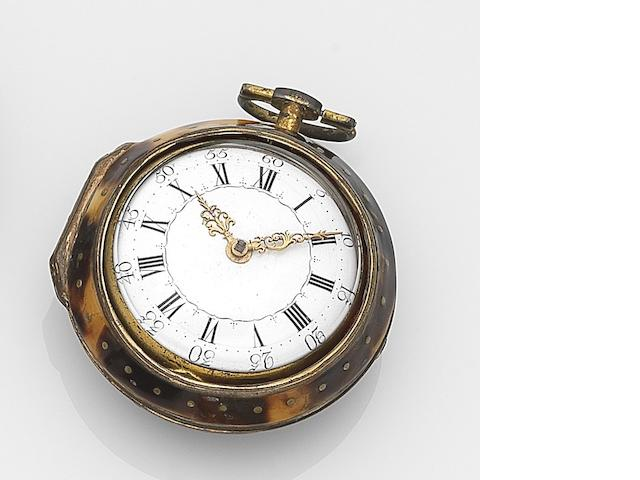 Jonathan Whitham, Sheffield. A gilt metal and painted horn key wind pair case pocket watch Circa 1780