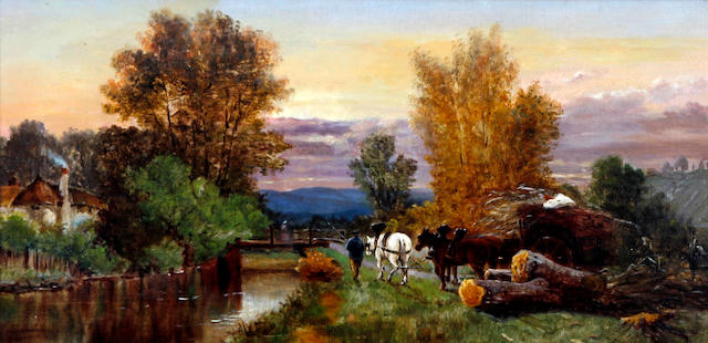 John Morris (British), (later 19th century) Horse and cart on riverside towpath
