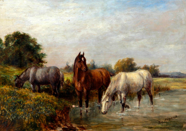 Squire Howard (British, active circa 1900) Horses watering at a riverside