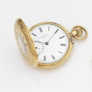 Savory & Sons, London. An 18ct gold keyless wind half hunter pocket watch Case and Movement No.13603, London Hallmark for 1864