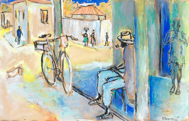 Gerard Sekoto (South African, 1913-1993) Cyclist resting in a township